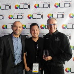 GLP's Udo Kunzler (l), Matt Shimamoto (c) and Mark Ravenhill (r) with the Best Product Presentation Award at LDI 2015_Photo by Beth Weinstein, Courtesy of Live Design