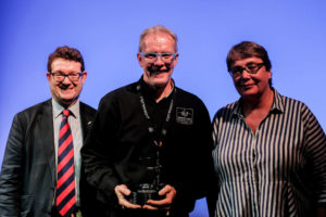 L to R - Robin Townley, Mark Ravenhill (GLP) and Louise Jeffreys (ABTT)